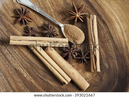 Anise star and cinnamon on wooden background, Anise and cinnamon on wood - stock photo