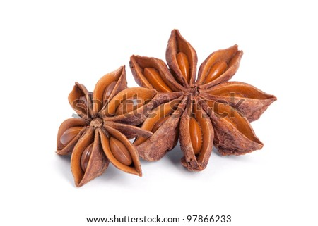 Anise star (Illicium verum) isolated on white background. Also called Star aniseed, or Chinese star anise. Used as a spice in cuisines all over the world. The plant is also used in medicine. - stock photo