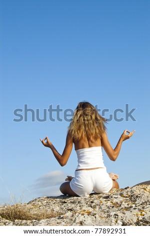 Anjali Mudra in  lotus position - stock photo