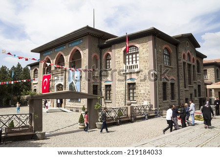 ANKARA - APR 23: First Turkish Parliament Building (Repuclic Museum now) on April 23, 2014 in Ankara , Turkish Republic was founded by under the leadership of Mustafa Kemal ATATURK on the building. - stock photo