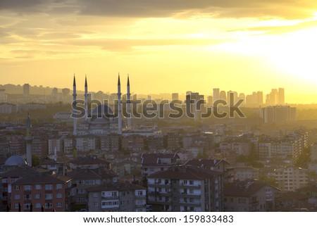 Ankara, Capital city of Turkey, sundown - stock photo