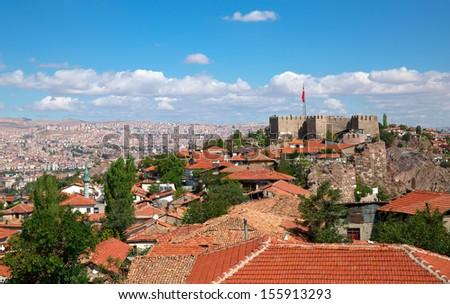 Ankara Castle, Ankara capital city of Turkey  - stock photo