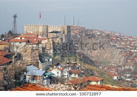 Ankara Castle,Ankara,Turkey - stock photo