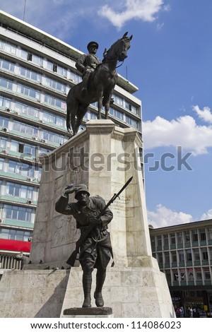 Ankara, City center, Ulus square, statue of Ataturk on horse, Turkey - stock photo