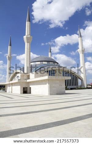 ANKARA - May 31: Ahmet Hamdi Akseki Mosque,. New and modern mosque of the capital city - May 31, 2014 in Ankara, Turkey - stock photo