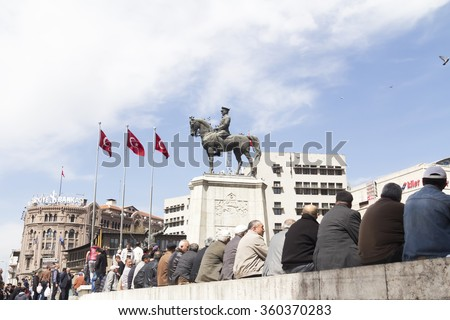 ANKARA, TURKEY - APR 25: Ataturk monument in city center, Ulus square shown on APRIL 25, 2015 in Ankara. Ulus is old city center of Ankara,Capital city of Turkey - stock photo