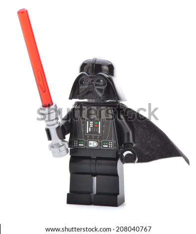 Ankara, Turkey - April 06, 2013: Close up of a Lego Darth Vader minifigure with sword isolated on white background.  - stock photo