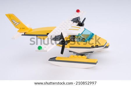 Ankara, Turkey - April 04, 2012: Lego Seaplane from side - stock photo