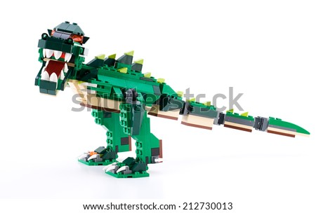 Ankara, Turkey - April 04, 2012: Studio shot of Lego Creator Ferocious Creatures   isolated on white background   - stock photo