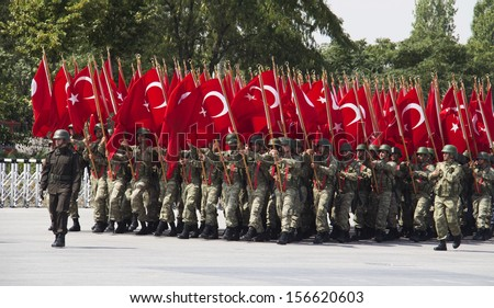 ANKARA, TURKEY - AUGUST 30: August 30th Victory Day was celebrated with an official ceremony and military parades at Hipodrom, Ankara on August 30, 2013 in Ankara, Turkey - stock photo
