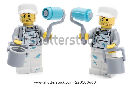 Ankara, Turkey - August 07, 2013 :  Studio shot of two Lego painter minifigures isolated on white background. - stock photo