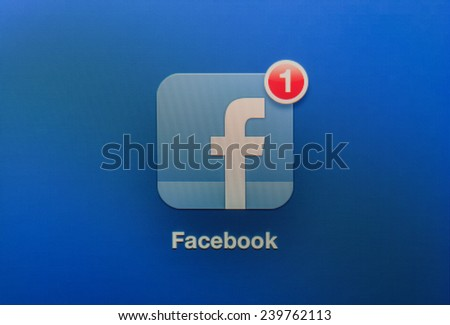 Ankara, TURKEY, Feb 09, 2013. Icon indicator shows a new facebook message has arrived. You have a new facebook message. - stock photo