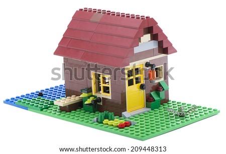 Ankara, Turkey - July 18, 2013: Lego Creator House isolated on white background  - stock photo