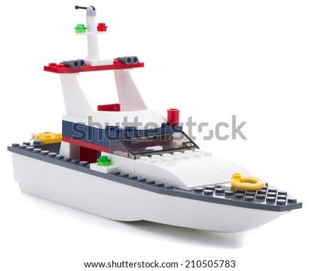 Ankara, Turkey - July 18, 2013: Studio shot of a Lego boat isolated on white background - stock photo