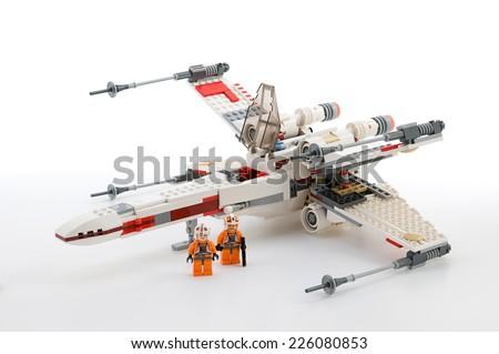 Ankara, Turkey - June 02, 2012: Lego Star Wars. Classic X-wing starfighter isolated on white background. - stock photo