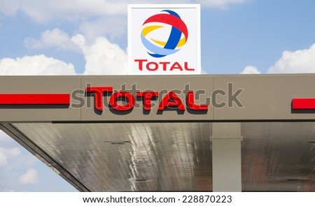 Ankara, Turkey - June 21, 2014: Total sign identifying a gas station. Total is a French multinational oil company and one of the Supermajor oil companies in the world. - stock photo