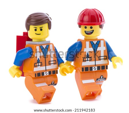 Ankara, Turkey - March 15, 2014:Two Lego movie minifigure characters Emmet isolated on white background.  - stock photo