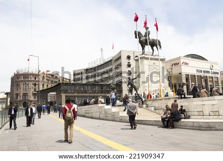ANKARA, TURKEY - may 11: Ataturk monument in city center, Ulus square shown on MAY 11, 2014 in Ankara.  Ulus is old city center of Ankara,Capital city of Turkey - stock photo