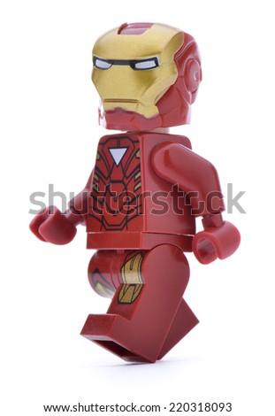 Ankara, Turkey - May 28, 2013: Lego Iron Man minifigure isolated on white background. - stock photo