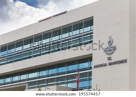 ANKARA, TURKEY - MAY 25, 2014 : The Constitutional Court of Turkey in Ankara(Turkish: Anayasa Mahkemesi) is the highest legal body for constitutional review in Turkey - stock photo