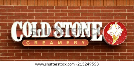 ANN ARBOR, MI - AUGUST 24: Cold Stone Creamery, whose logo at their east Ann Arbor store is shown on August 24, 2014, recently developed a new peanut butter and jelly ice cream flavor.  - stock photo