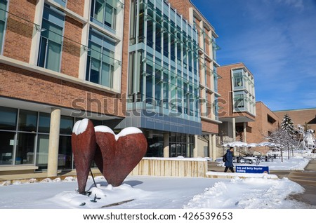 ANN ARBOR, MI - FEBRUARY 25: The Bob and Betty Beyster Building, shown here on February 25, 2016, is one of the University of Michigan College of Engineering's newest buildings.  - stock photo
