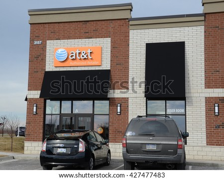 ANN ARBOR, MI - JANUARY 30: AT&T, whose south Ann Arbor store is shown on January 30, 2016, bought Direct TV in 2015 for $48.5 billion.  - stock photo