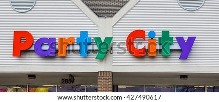 ANN ARBOR, MI - JANUARY 30: Party City, whose south Ann Arbor, MI store logo is shown January 30, 2016, has over 900 locations.  - stock photo