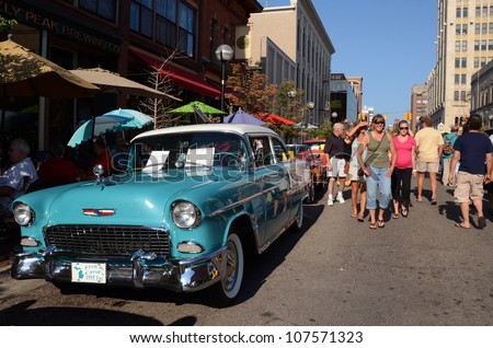 ANN ARBOR, MI - JULY 13: 1955 Chevy Bel-Air at the Rolling Sculpture car show July 13, 2012 in Ann Arbor, MI. - stock photo