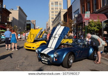 ANN ARBOR, MI - JULY 13: 1965 Cobra at the Rolling Sculpture car show July 13, 2012 in Ann Arbor, MI. - stock photo