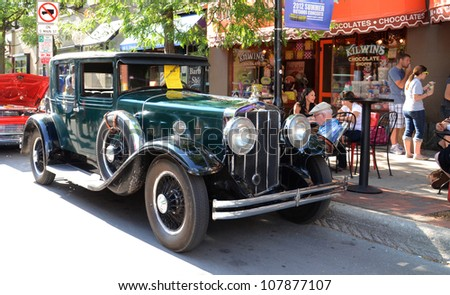 ANN ARBOR, MI - JULY 13: 1919 Franklin Air Cooled Classic Car at the Rolling Sculpture car show July 13, 2012 in Ann Arbor, MI. - stock photo