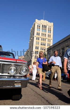 ANN ARBOR, MI - JULY 13: 1964 Galaxie 500 Convertible at the Rolling Sculpture car show July 13, 2012 in Ann Arbor, MI. - stock photo