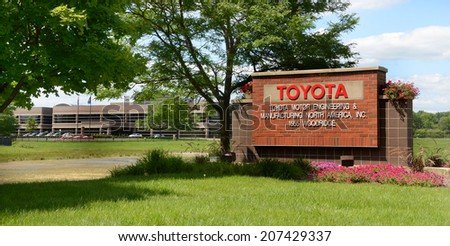 ANN ARBOR, MI - JULY 24: The Toyota Technical Center in Ann Arbor, MI, shown here on July 24, 2014, will expand to accommodate workers moving from Erlanger, KY.   - stock photo