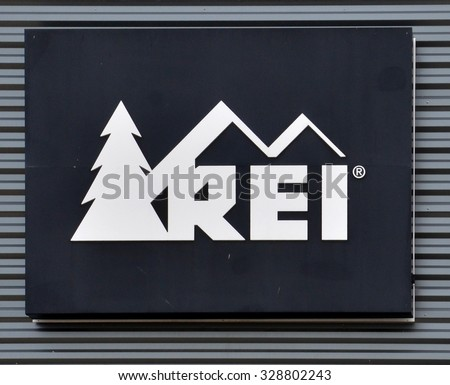 ANN ARBOR, MI - SEPTEMBER 7: REI, whose Ann Arbor store logo is shown on June 7, 2015, has over 140 stores in 33 states. - stock photo