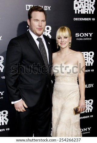 "Anna Faris and Chris Pratt at the Los Angeles Premiere of ""Zero Dark Thirty"" held at the Dolby Theatre in Los Angeles, California, United States on December 10, 2012. - stock photo"
