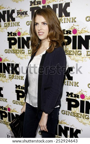 Anna Kendrick at the Mr. Pink Ginseng Drink Launch Party held at the Regent Beverly Wilshire Hotel in Los Angeles, California, United States on October 11, 2012.  - stock photo