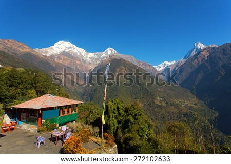 Annapurna I Himalaya Mountains in Nepal - stock photo