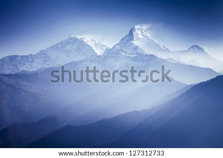Annapurna mountains in sunrise light - stock photo