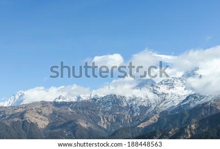 Annapurna range in Nepal Himalaya - stock photo