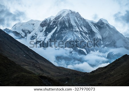 Annapurna south peak in Nepal with selective focus - stock photo