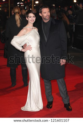 Anne Hathaway and Hugh Jackman arriving for the premiere of 'Les Miserables' at Leicester Square, London. 05/12/2012 Picture by: Alexandra Glen - stock photo