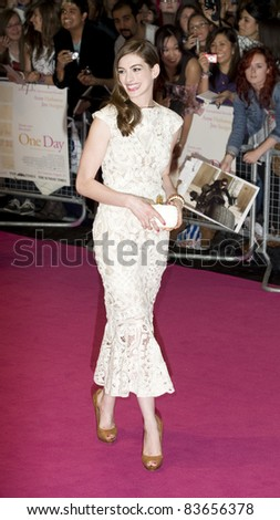 Anne Hathaway arriving for the UK premiere of One Day at the Vue Cinema in, Westfield, London. 23/08/2011  Picture by: Simon Burchell / Featureflash - stock photo