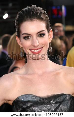 "Anne Hathaway  at the World Premiere of ""Get Smart"". Mann Village Theatre, Westwood, CA. 06-16-08 - stock photo"