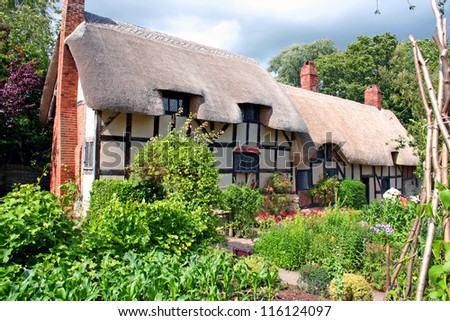 Anne Hathaway's Cottage, Stratford-upon-Avon, England - stock photo