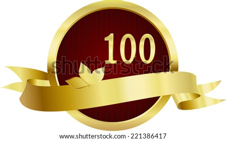 Anniversary button with number 100 and golden ribbon for your text - stock photo