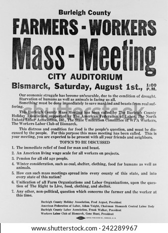 Announcement for a 1937 Farmers Mass meeting sponsored by organized labor, listed demands for relief, wages and pensions. The National Industrial Recovery Act of June 16, 1933, Magna Charta of labor. - stock photo