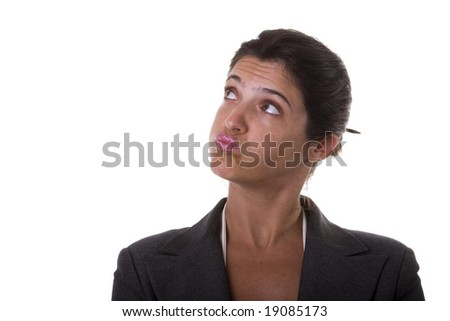 Annoyed businesswoman looking to the copyspace (isolated on white) - stock photo
