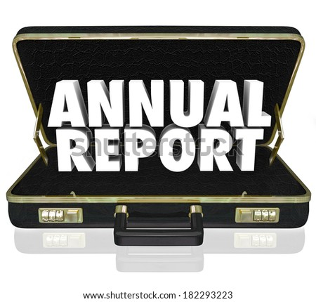 Annual Report Words Business Briefcase Financial Profit Results - stock photo