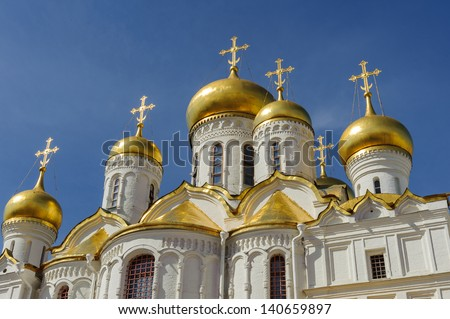 Annunciation Cathedral chapels in Moscow - stock photo