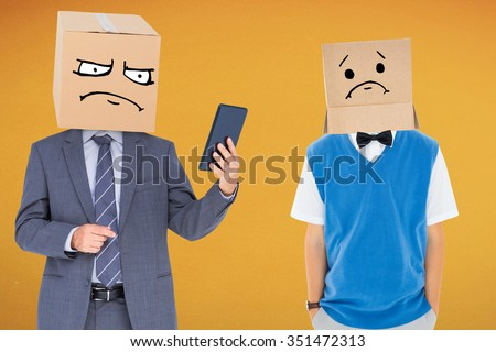 Anonymous businessman against orange background - stock photo
